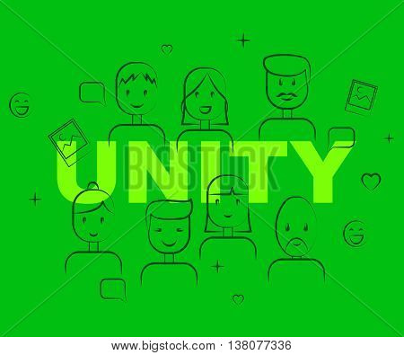 Unity People Represents Team Work And Cooperation