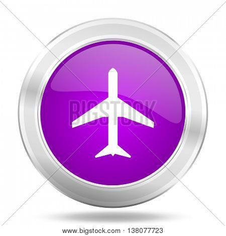 plane round glossy pink silver metallic icon, modern design web element