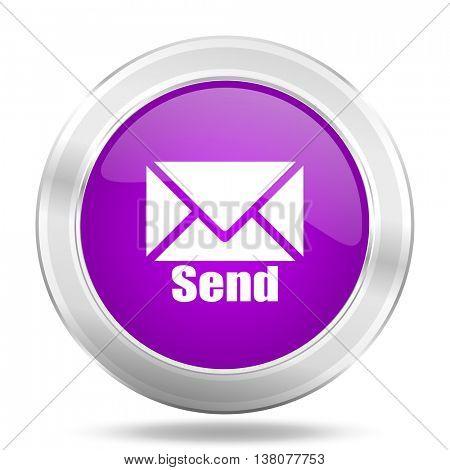 send round glossy pink silver metallic icon, modern design web element