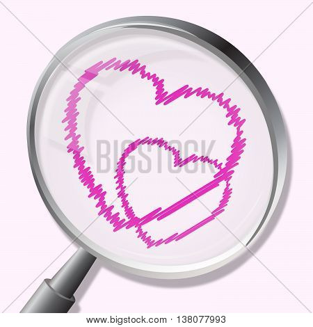 Hearts Magnifier Indicates In Love And Lovers