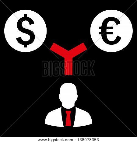Currency Management vector icon. Style is bicolor flat symbol, red and white colors, black background.