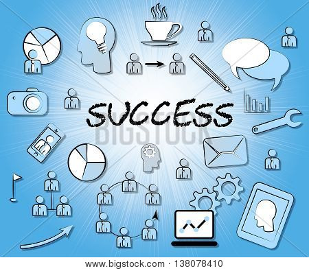Success Icons Means Triumphant Symbol And Winning