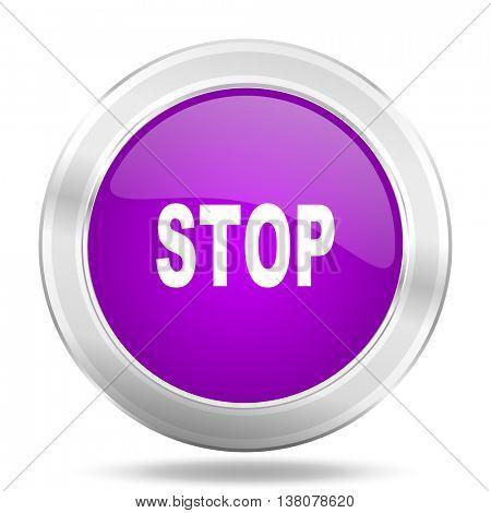 stop round glossy pink silver metallic icon, modern design web element