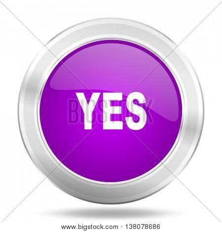 yes round glossy pink silver metallic icon, modern design web element