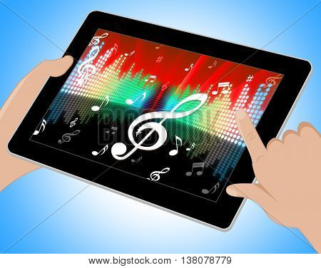 Notes Equaliser Represents Sound Track And Abstract Tablet
