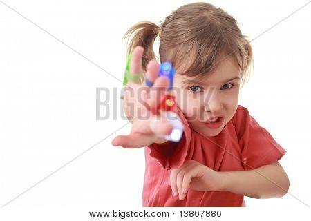 Girl sent hand forward, flashlights on fingers