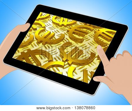 Euro Symbols Over The Floor Shows European Finances Tablet