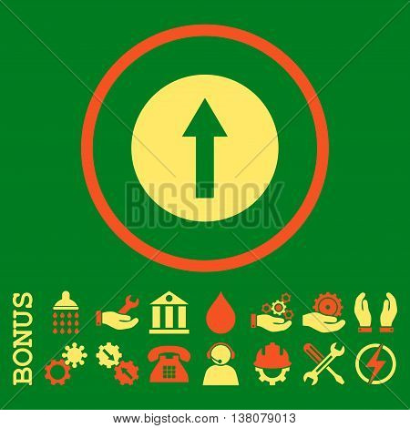 Up Rounded Arrow vector bicolor icon. Image style is a flat pictogram symbol inside a circle, orange and yellow colors, green background. Bonus images are included.