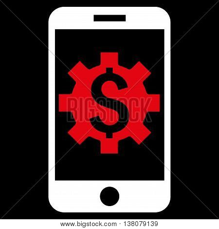 Mobile Bank Setup vector icon. Style is bicolor flat symbol, red and white colors, black background.