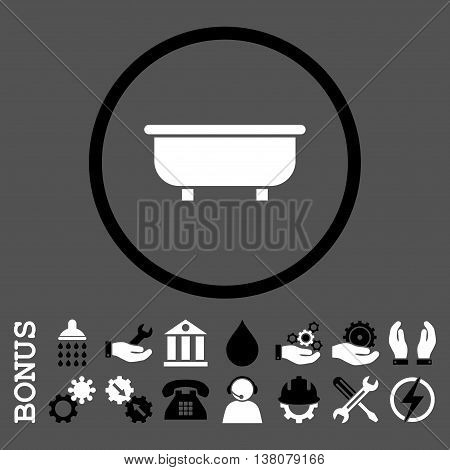 Bathtub vector bicolor icon. Image style is a flat pictogram symbol inside a circle, black and white colors, gray background. Bonus images are included.