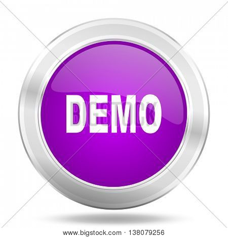 demo round glossy pink silver metallic icon, modern design web element