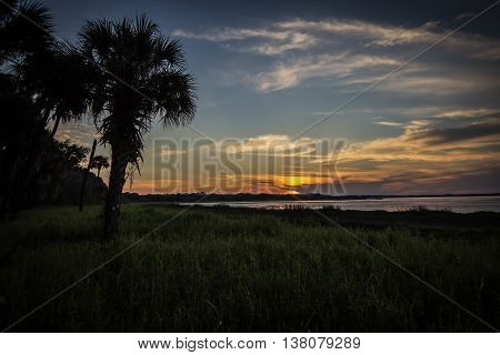 Sunset at Myakka River State Park, Florida.