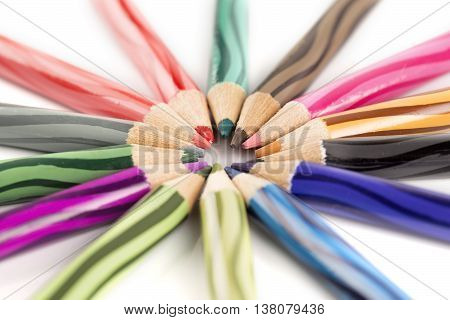 back to school border of multicolored pensils isolated on white background with selective focus