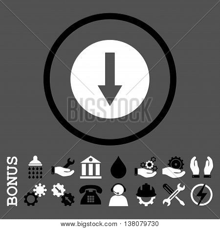 Down Rounded Arrow vector bicolor icon. Image style is a flat pictogram symbol inside a circle, black and white colors, gray background. Bonus images are included.