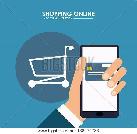 Shopping online concept represented by smartphone, credit card and shopping cart icon. Colorfull and flat illustration.