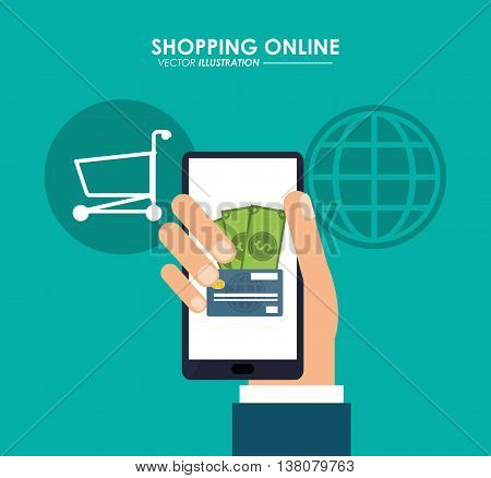 Shopping online concept represented by smartphone, bills, global, credit card and shopping cart icon. Colorfull and flat illustration.