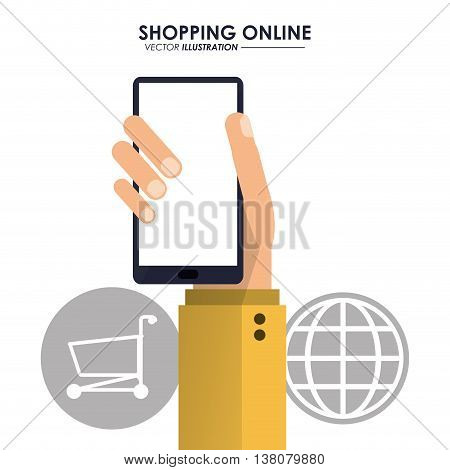 Shopping online concept represented by smartphone, global and shopping cart icon. Colorfull and flat illustration.