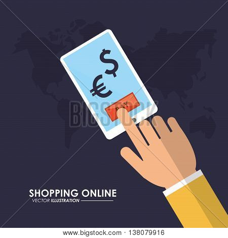 Shopping online concept represented by smartphone and map icon. Colorfull and flat illustration.