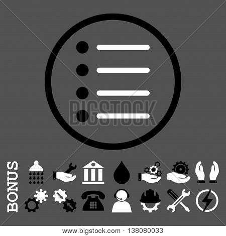Items vector bicolor icon. Image style is a flat pictogram symbol inside a circle, black and white colors, gray background. Bonus images are included.