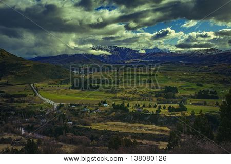 beautiful landscape of crown range road view point between wanaka town to queenstown south island new zealand