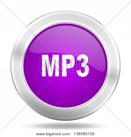 mp3 round glossy pink silver metallic icon, modern design web element