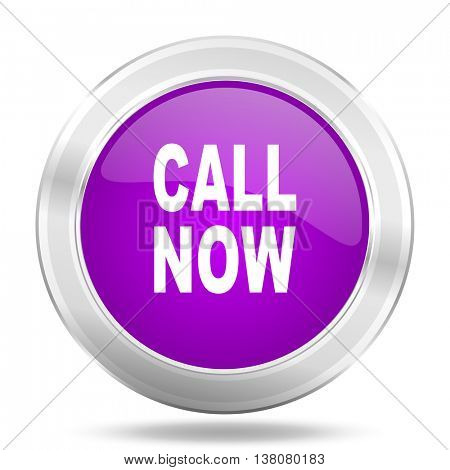 call now round glossy pink silver metallic icon, modern design web element
