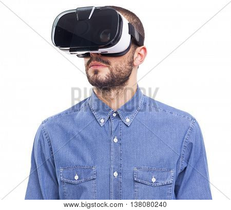 Image of a man using a VR headset - isolated on white background