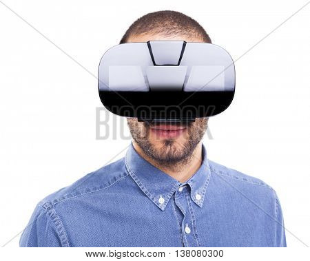 Young man wearing virtual reality goggles, isolated on white background
