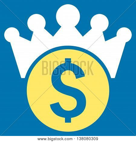 Financial Power vector icon. Style is bicolor flat symbol, yellow and white colors, blue background.