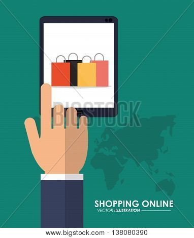 Shopping online concept represented by tablet and shopping bag icon. Colorfull and flat illustration.