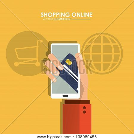 Shopping online concept represented by smartphone and credit card icon. Colorfull and flat illustration.