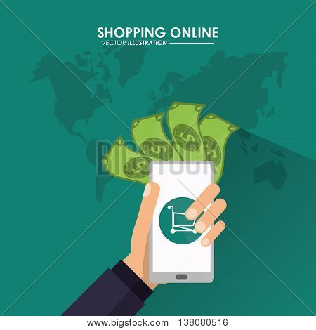 Shopping online concept represented by smartphone, bills, earth and shopping cart icon. Colorfull and flat illustration.