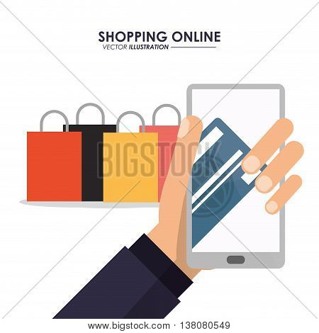 Shopping online concept represented by smartphone, credit card and shopping bag icon. Colorfull and flat illustration.