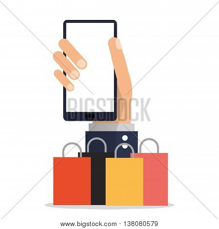 Shopping online concept represented by smartphone and shopping bag icon. Colorfull and flat illustration.