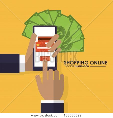 Shopping online concept represented by smartphone, bills and credit card icon. Colorfull and flat illustration.
