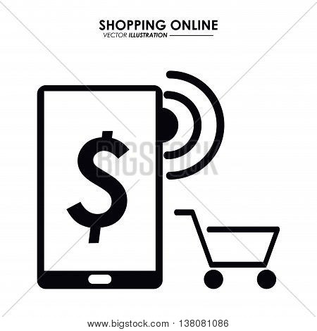 Shopping online concept represented by smartphone and shopping cart icon. Isolated and flat illustration.