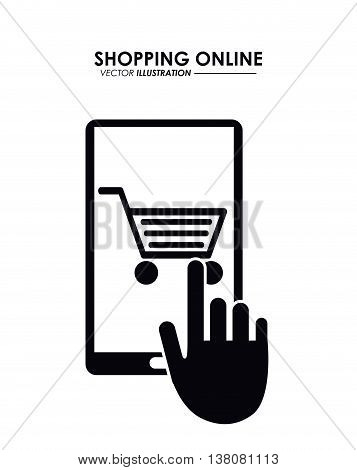 Shopping online concept represented by smartphone, cursor and shopping cart icon. Colorfull and flat illustration.