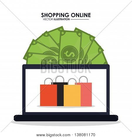 Shopping online concept represented by laptop, bills and shopping bag icon. Colorfull and flat illustration.