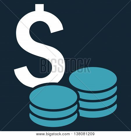 Dollar Cash vector icon. Style is bicolor flat symbol, blue and white colors, dark blue background.