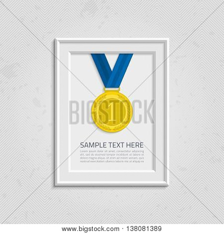 Vector frame template with medal competition winner. Frame to win the competition wiht text. Gold medal on isolated background photo frames wiht text. Frame with a medal of the winner and the text.