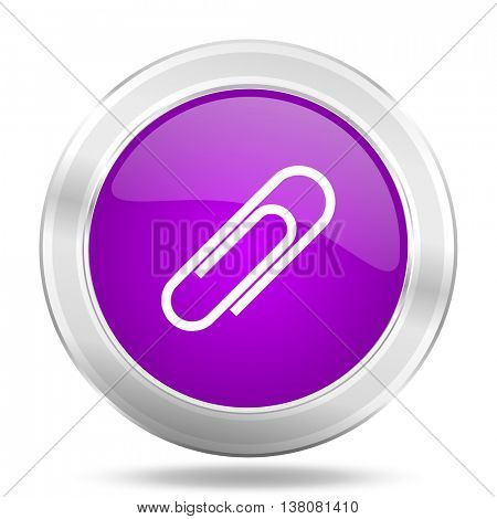 paperclip round glossy pink silver metallic icon, modern design web element