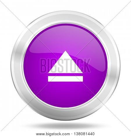 eject round glossy pink silver metallic icon, modern design web element