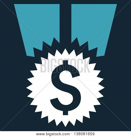 Financial Medal vector icon. Style is bicolor flat symbol, blue and white colors, dark blue background.