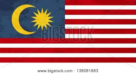 True proportions Malaysia flag with grunge texture
