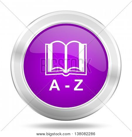 dictionary round glossy pink silver metallic icon, modern design web element