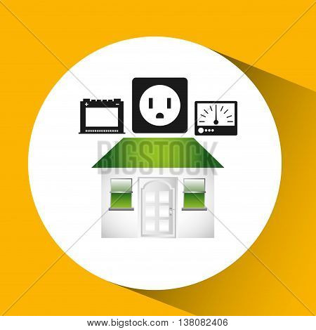 house with electricity power icon, vector illustration