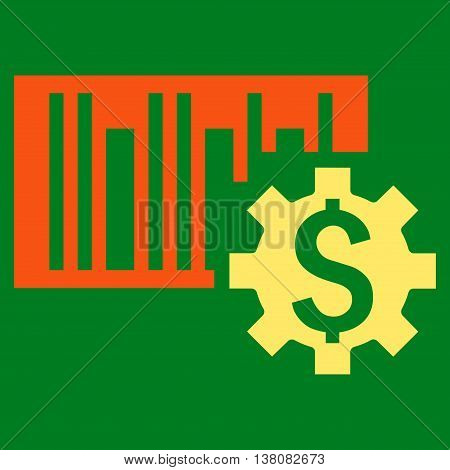 Barcode Price Setup vector icon. Style is bicolor flat symbol, orange and yellow colors, green background.