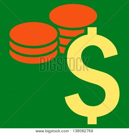 Dollar Coins vector icon. Style is bicolor flat symbol, orange and yellow colors, green background.