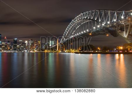 Night time landscape view of Sydney Australa harbour and CBD - long exposure reflections