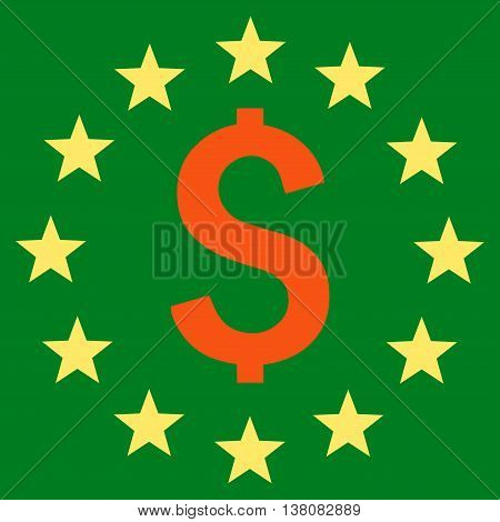 Dollar Stars vector icon. Style is bicolor flat symbol, orange and yellow colors, green background.